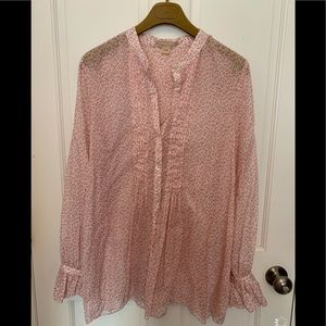 Micheal Kors Pink Floral Blouse